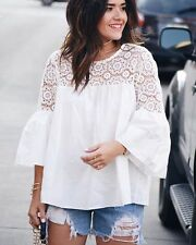 S New Bohemian Women's White Cotton Lace Crochet Flare Sleeve Blouse Top - Small