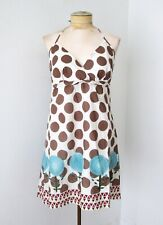 NWT Anthropologie Aryeh Brown Dot Blue Flowers Halter Skater Cotton Dress Jr L