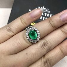 COLOMBIAN! 2.35TCW Emerald Diamonds 18K Solid White Gold Ring Natural Christmas