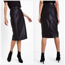NEW Black Leather Look Seam Detail Pencil Midi Skirt Size 6 New Look RRP £22.99