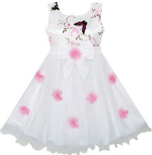 Flower Girls Dress Butterfly Wedding Pageant Bridesmaid Age 4-10 Years Formal