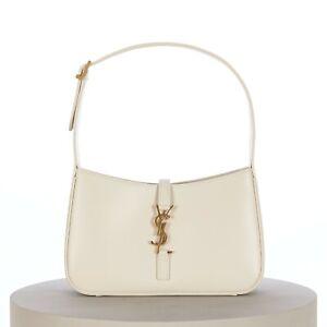 SAINT LAURENT PARIS 1690$ LE 5 À 7 YSL Monogram Hobo Bag in Smooth White Leather