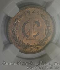 """1945 Eagle Coin Mexico Bronze Coin rare Un Centavos Coin on a 30/"""" Silver Chain"""