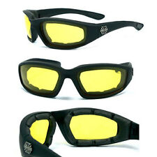 Night Driving Motor Bikers Choppers Foam Padded Goggle Sunglasses - Yellow C17