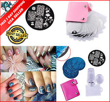 Nail Art Deco Kit 10 Plates +1 Stamper + 1 Scraper Manicure Stamp Template Set