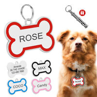 Personalised Dog Tags Disc Disk Cat Puppy Pet Bone ID Collar Tags Name Engraved