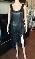 NEW VERSACE OROTON METAL CHAINMAIL Top & Skirt 2 Piece Set Sz 42 ICONIC!!!