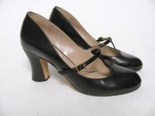 MARC JACOBS SHOES BLACK LEATHER MARY JANE T-STRAP BUCKLE ROUND TOE HIGH HEEL ~37