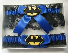 HANDMADE Batman Wedding or PROM Garter Black and Royal Garters
