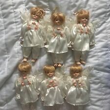 SET OF 6 PORCELAIN DOLL ANGEL CHRISTMAS ORNAMENTS IN WHITE OUTFITS