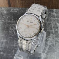 Vintage TELDA WATCH Triple Date Calendar Men's Watch 32mm Runs Great