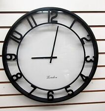 "LARGE 20""  DIAMETER BLACK WALL CLOCK KNOWN AS ""MINIMALIST"" MADE BY KOLE 0D768"