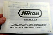 Nikon Speedlight Unidad SB-24 Flash Garantía Tarjeta Vintage