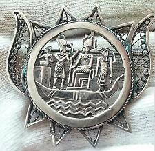 Medallion Brooch - 14.70gr. Antique Solid Silver Egyptian Filigree