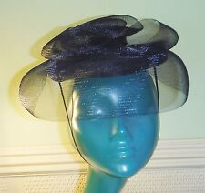 CHIC VINTAGE CLASSIC NAVY BLUE NET STRAW SWIRLED LAYERS PILLBOX HAT PERCHER
