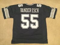 UNSIGNED CUSTOM Sewn Stitched Leighton Vander Esch Blue Jersey - M, L, XL, 2XL
