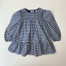 Zara Baby Girls 9-12 Months Blue White Gingham Check Smock Dress
