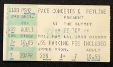 1980 05/16 Zz Top At The Summitt Ticket