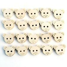 25  X 12mm 2 HOLE WOODEN TEDDY BEAR HEAD BUTTONS