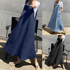 Women Strappy A-line Sundress Pinafore Overalls Dress Plus Size Maxi Denim Dress