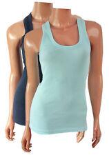 Women's Sleeveless Waist Length Cotton Blend Semi Fitted Tops & Shirts