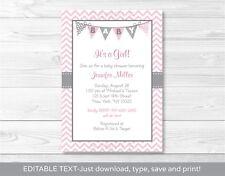 Modern Pink Chevron Printable Baby Shower Invitation Editable PDF