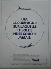 1987 PUB COMPAGNIE AERIENNE UTA AIRLINE DC-10 BOEING 747 AIRLINER FRENCH AD