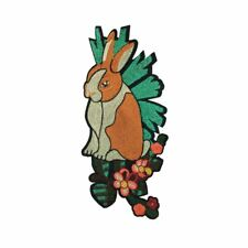 Rabbit Garden (Iron On) Embroidery Applique Patch Sew Iron Badge