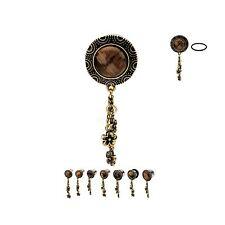 PAIR-Tiger Eye w/Flower Dangle Steel Single Flare Ear Plugs 10mm/00 Gauge Body J