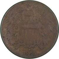 1866 Two Cent Piece VG Very Good Bronze 2c US Type Coin Collectible
