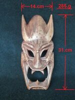 Hand carved vintage wood Headhunters of Philippines tribal wooden devil mask 12""