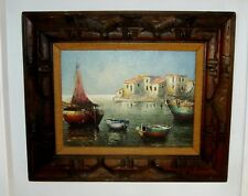 "Eleonore Guinther Oil On Canvas Painting Harbor 16"" x 12"""