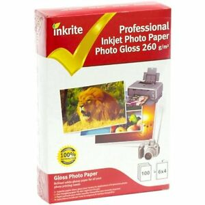 INKRITE PROFESSIONAL GLOSSY 6X4 PHOTO PAPER - 260GSM  - 300 SHEETS (3 PACKS)