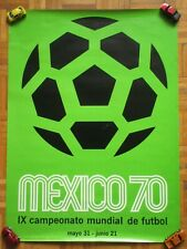 1970 MEXICO IX SOCCER WORLD CUP FOOTBALL FUTBOL ORIGINAL MEXICAN POSTER GREEN