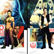 STAR WARS Set of 2 SIGNED ART PRINT Han Solo PRINCESS LEIA New FRANK CHO SDCC