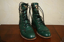 Ladies Justin Roper Green Leather Lace Boots Size 5 ½ C Stamped IMPERFECT Inside