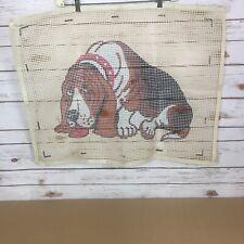 New listing Vintage Latch Hook Rug Canvas 30�x23� Basset Hound Dog - Canvas Only