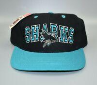 San Jose Sharks NHL Vintage 90s Twins Enterprise Wool Snapback Cap Hat - NWT