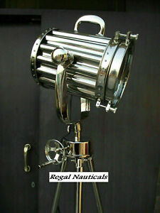 Nautical Spotlight Steel Tripod Stand Collectible Home Office Decorative Lamp