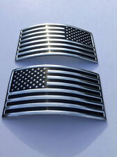 USA Flag x 2 Car Auto Truck Chrome Flexible Decal American Sticker 3D Emblem !