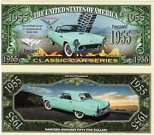 2 Notes 1955 Ford Thunderbird Classic Car Series Novelty Million Dollar Notes