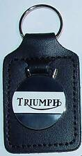 Triumph Motorcycle, Leather Stiched Key Tag, Key Fob, WHITE on BLACK, UK Made