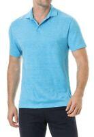 Rodd & Gunn Mens Size M Sports Fit Timber Bay Polo Shirt Short Sleeve Linen Teal