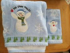 St. Nicholas Square Christmas/Holiday 2 Hand and 2 Bath towel set - Snowmen