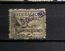 911-SELLO VIÑETA GUERRA CIVIL 1938 REPUBLICA C.N.T. Y F.A.I.COMUNICACIONES.2 PT