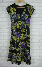 MONSOON Dress Sz UK 12 Black, Green, Gray Floral Print