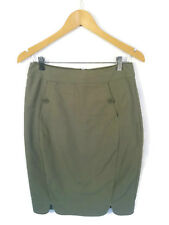 LAURA ASHLEY Skirt - Khaki Green Pencil Button Stretch Work Vintage Style - 6/8