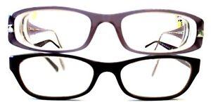 x2 PRADA & CHANEL Slim Rectangular Reading Prescription Glasses w/ Case - W27
