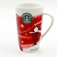 Starbucks Coffee Mug Stories are Gifts Share 2010 Holiday Red White 16 oz Cup