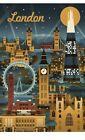 "Lantern Press London England Vintage Retro Skyline Illustrated Art Print, 12x24"""